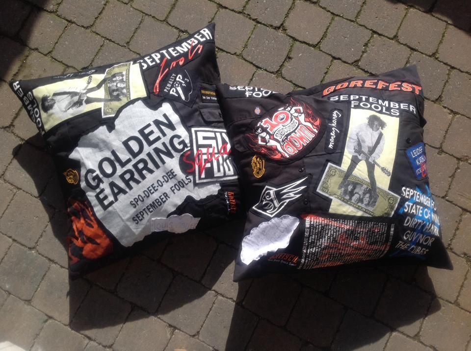 Pillowcases made of old band shirts / Kussenhoezen gemaakt van oude bandshirts // VAN BRITT