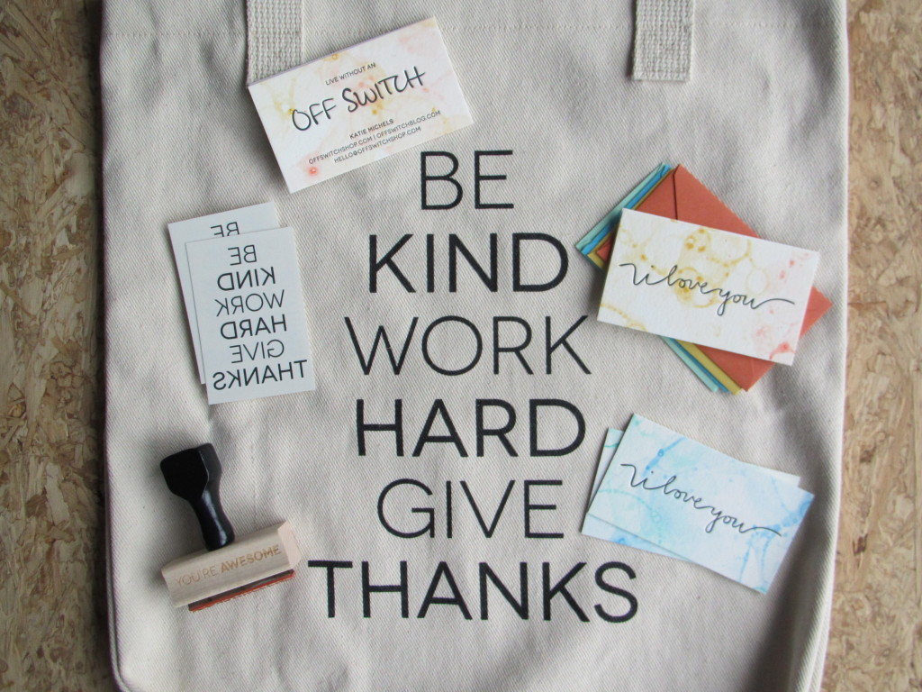 'Be kind, work hard, give thanks' tote and goodies // Off Switch Shop, picture: VAN BRITT