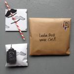 Moustache, kraft, striped straw, gift, snailmail, postcrossing / Snor, kraftpapier, gestreept rietje, snailmail, postcrossing // VAN BRITT