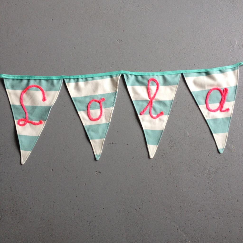 Banner Lola, mint, pink, party / Banner, vlaggenlijn Lola, mint, roze // VAN BRITT