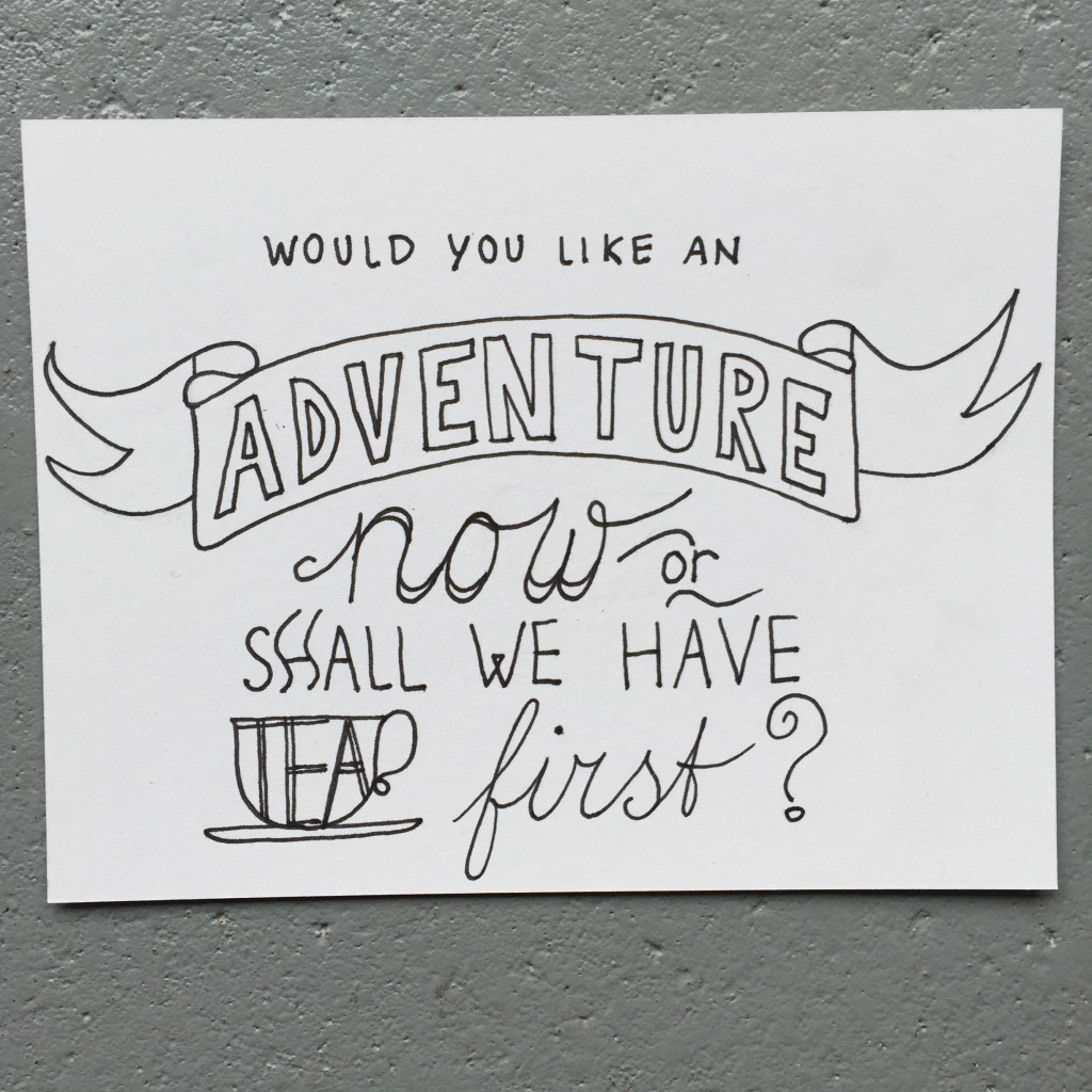 'Would you like an adventure now or shall we have tea first', quote, tea inspired snailmail, postcrossing / Thema thee, snailmail, leuke post, Mail on Monday # 28 // VAN BRITT