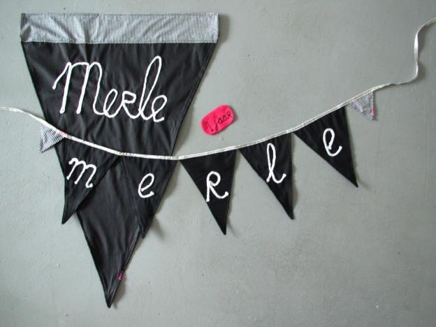 Banner in black and white, chalkboard look, diy / Vlaggenlijn in zwart en wit, schoolbordlook // VAN BRITT