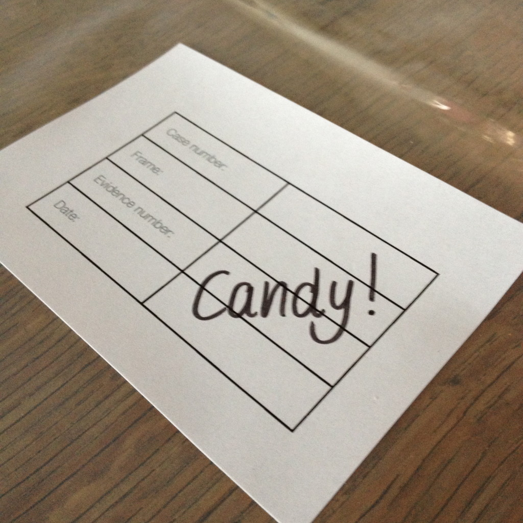 'Evidence bags' for Halloween candy bags // VAN BRITT