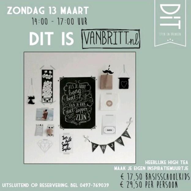 DiT is VAN BRITT, workshop inspiratiemuurtje maken, zondag 13 maart 2016, DiT eten & drinken, Eersel