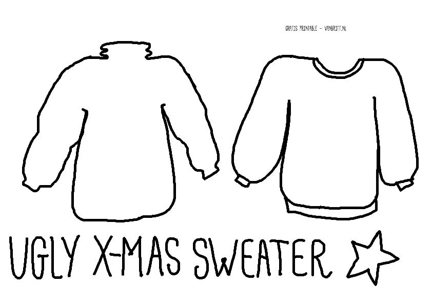 Ugly X-mas Sweater Garland / Ugly X-mas Sweater vlaggenlijntje, gratis printable, kerst // VAN BRITT