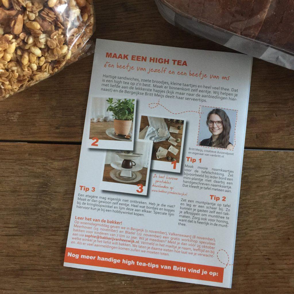 Flyer Bakkerij Van Heeswijk najaar 2017 - High tea tips